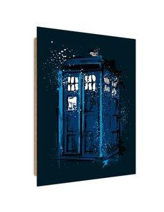 Tableau blue phone booth imprimé sur bois