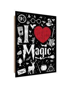 Tableau love magic imprimé sur bois