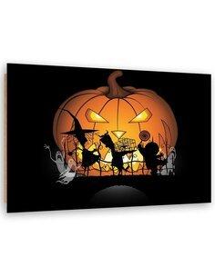 Tableau Halloween pumpkin imprimé sur bois