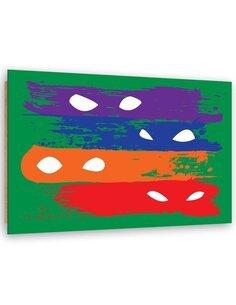 Tableau Four Mask of Zorro imprimé sur bois