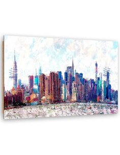 Tableau windy New York imprimé sur bois