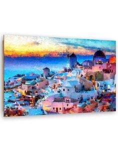 Tableau sunset on Santorini imprimé sur bois