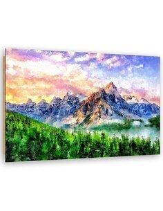 Tableau Sunrise in the mountains imprimé sur bois