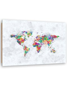 Tableau colored map of the world imprimé sur bois
