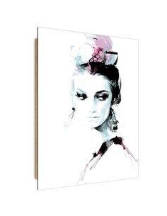 Tableau portrait of a pensive woman imprimé sur bois