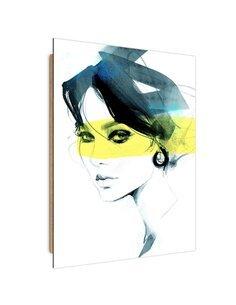 Tableau woman with a mysterious look imprimé sur bois