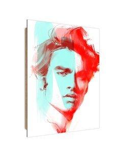 Tableau red portrait of a man imprimé sur bois