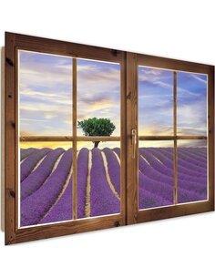 Tableau field of lavender imprimé sur bois