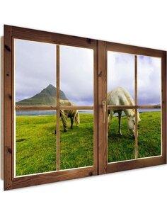 Tableau a view of the horses imprimé sur bois