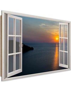 Tableau sunset over the bay imprimé sur bois