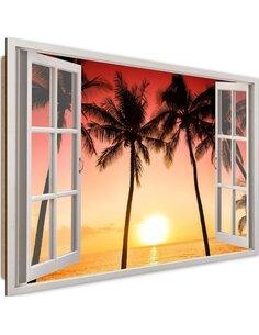 Tableau sun and palm trees imprimé sur bois