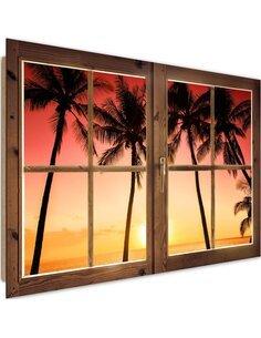 Tableau palm trees and sun imprimé sur bois