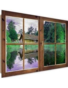 Tableau cottage on the lake imprimé sur bois