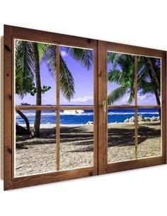 Tableau palm trees and beach imprimé sur bois