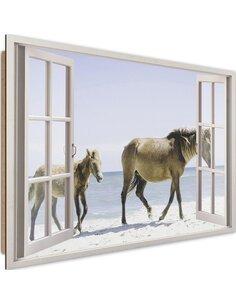 Tableau horses on the beach imprimé sur bois