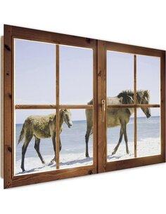 Tableau beach and horses imprimé sur bois