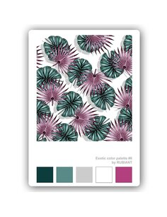 Plaque acier décorative Purple Exotic Green Leaves