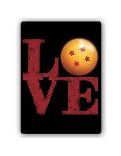 Plaque acier décorative Inscription Love With A Ball Of Power