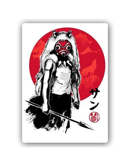 Plaque acier décorative Japanese Girl Wolf