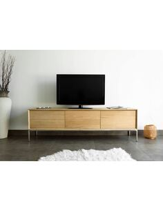 Meuble TV KUBICO chêne massif 1 porte / 2 tiroirs