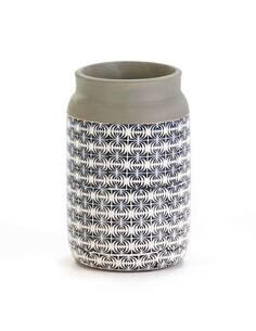 Vase 15x15x22 Céramique Bleu/Blanc/Gris
