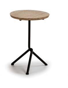 Table d'appoint 47x47x66 Bois Naturel/Blanc/Métal Noir