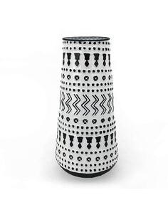Vase 20x13x40 Métal Blanc/Noir