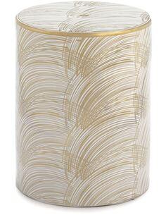 Tabouret 33x33x45 Céramique Blanc/Doré