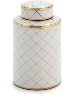 Tibor 18x18x30 Céramique Blanc/Doré