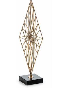 Figure 17x17x60 Métal Doré