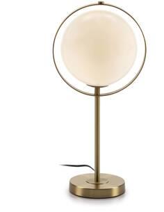 Lampe de Table 25x25x52 Verre Blanc/Métal Doré