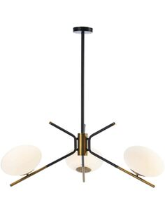 Lampe d'architecte 94x94x100 Verre Blanc/Métal Doré/Noir