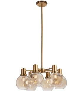 Lampe d'architecte 46x46x112 Verre Ambre/Métal Doré