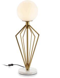 Lampe de Table 23x23x68 Verre Blanc/Marbre Blanc/Métal Doré