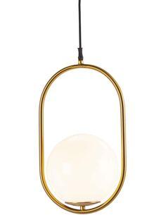 Lampe d'architecte 24x20x42 Verre Blanc/Métal Doré