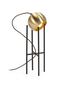 Lampe de Table 15x15x46 Métal Doré/Noir