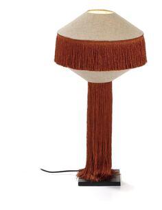 Lampe de Table avec abat-jour 30x30x62 Métal Noir/Lin Naturel/Toile Ocre