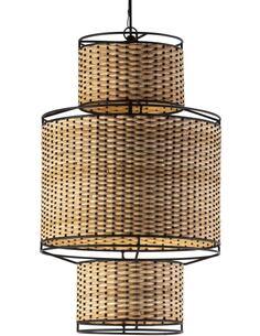 Lampe d'architecte 38x38x62 Métal Noir/Rotin Naturel