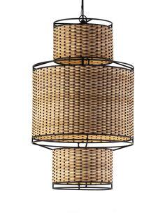 Lampe d'architecte 20x20x38 Métal Noir/Rotin Naturel