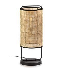 Lampe de Table 27x27x67 Métal Noir/Rotin Naturel