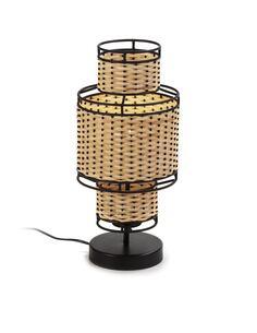 Lampe de Table 21x21x45 Métal Noir/Rotin Naturel