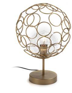Lampe de Table 30x30x45 Verre/Métal Doré