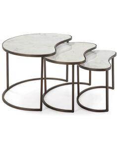 Set/3 Table d'appoint 76x50x46 Marbre Blanc/Métal Doré