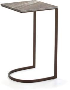 Table d'appoint 38x38x67 Marbre/Métal Doré Antique