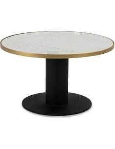 Table à café 80x80x45 Marbre Blanc/Métal Doré/Noir