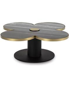 Table à café 91x91x33 Granit Noir/Métal Doré/Noir