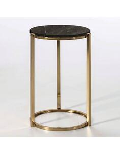 Table d'appoint 38x40x60 Marbre Noir/Métal Doré