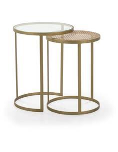 Set/2 Table d'appoint 50x50x65 Verre/Rotin/Métal Doré