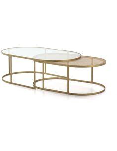 Set/2 Table à café 130x80x44 Verre/Rotin/Métal Doré