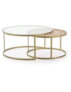 Set/2 Table à café 92x92x44 Verre/Rotin/Métal Doré